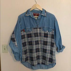 Vintage Denim Shirt w/ Plaid Detail